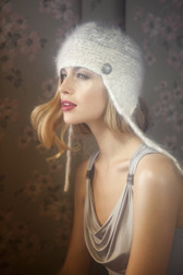 English Angora Fur Earflap Hat