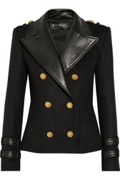 Balmain Leather & Cashmere Double Breasted Jacket