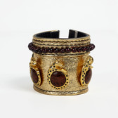 Condemned to Be Free Gold Crackled Leather Cuff with Leopard Pins & Garnet Beads