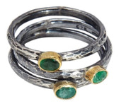 Condemned to Be Free Oxidized Silver & 24k Gold Emerald Stackable Ring Set