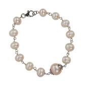 Silver Pearl Bracelet (Blush Pink)