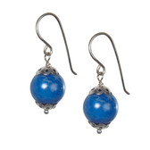 Silver Cap Lapis Bead Drop Earrings
