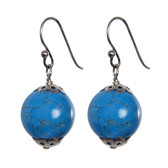 Silver Cap Large Turquoise Bead Drop Earrings