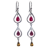 Silver & 24k Gold Genuine Ruby Teardop Chandelier Earrings