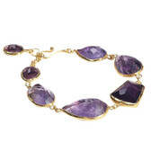22k Gold Vermeil Amethyst Rock Candy Eternity Bracelet