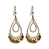 24k Gold Vermeil Double Teardrop Hammered Disc Chandelier Drop Earrings