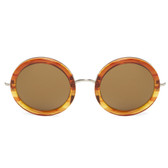 Linda Farrow x The Row Round Sunglasses (Mahogany)