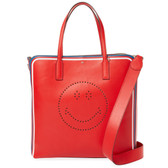 Anya Hindmarch Smiley Leather Tote Bag (Red)