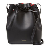 Mansur Gavriel Leather Bucket Bag (Black/Red)