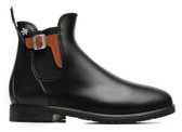 Meduse Chelsea Rain Boot (Black with Leather Buckle)