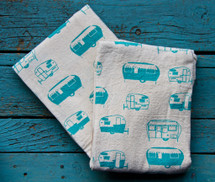 Vintage Aqua Travel Trailers Tea Towel