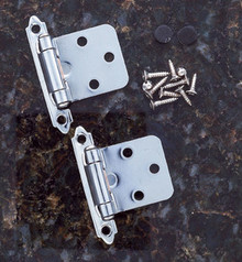 JVJ 10126 Chrome Finish Flush Self-Closing Hinge (Pair) - Made of Steel