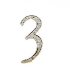 "JVJ 00339 4"" Satin Nickel Finish Zinc Alloy House Number ""3"""