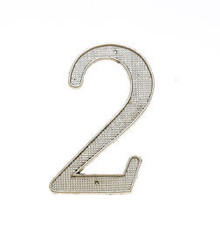"JVJ 00239 4"" Satin Nickel Finish Zinc Alloy House Number ""2"""