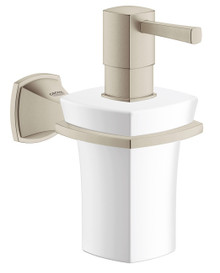 Grohe 40627EN0 Grandera Wall Mount Ceramic Soap Dispenser With Brushed Nickel Holder