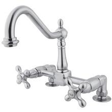 Kingston Brass Two Handle Widespread Bridge Deck Mount Kitchen Faucet - Polished Chrome KS1141AX