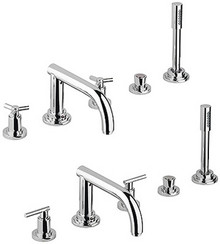 Grohe 25049000 Atrio Two Handle Roman Tub Filler Faucet With Hand Shower - Chrome