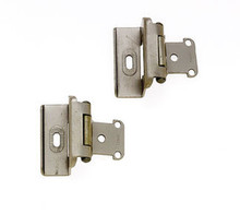 JVJ 10446 Satin Nickel Full Wrap Overlay Self Closing Hinge (Pair) - Made of Steel
