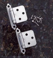 JVJ 10146 Satin Nickel Finish Flush Self-Closing Hinge (Pair) - Made of Steel