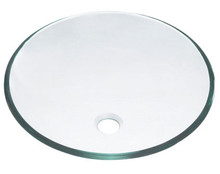 "Madeli Mge-05004-1-c Round Natural Clear Tempered Glass Vessel Sink 16 1/2"" W x 5 1/2"" H"