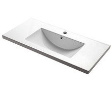 "Madeli White Ceramic Bathroom Sink 36"" W X 18 1/18"" D X 6 7/8"" H With Overflow & Single Hole - White"