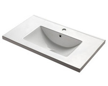 "Madeli CB-8130-110-WH White Ceramic Bathroom Sink 30"" W X 18 1/8"" D With Overflow & Single Hole - White"