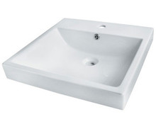 "Madeli Cb-7120-WH White Ceramic Bathroom Square Sink 19 11/16"" W x 19 11/16"" D x 6 5/16"" H With Overflow with Single Hole"