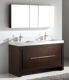 "Madeli Vicenza Walnut 60"" Vanity With Glass Top & Sink Option"