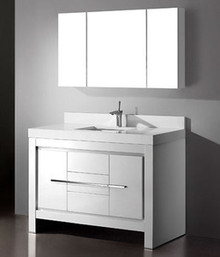 "Madeli Vicenza Glossy White 48"" Vanity 47 5/8"" W X 22"" D X 32 1/16"" H With Glass Top & Sink Option"