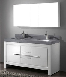 "Madeli Vicenza Glossy White 60"" Vanity 59 5/8"" W X 22"" D X 32 1/16"" H With Glass Top & Sink Option"