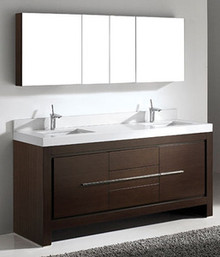 "Madeli Vicenza Walnut 72"" Vanity With Double Bowl Quartzstone Top & Ceramic Sink Option"