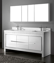 "Madeli Vicenza Glossy White 72"" Vanity With Quartzstone Top & Ceramic Sink Option"