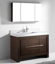 "Madeli Vicenza Walnut 48"" Vanity With Quartzstone Top & Ceramic Sink Option"