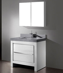 "Madeli Vicenza Glossy White 36"" Vanity With Quartzstone Top & Ceramic Sink Option"