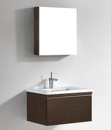 "Madeli Venasca Walnut 30"" Wall Hung Vanity With X-Stone Top &  Sink Option"