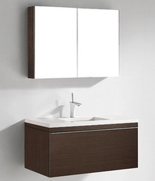 "Madeli Venasca Walnut 36"" Wall Hung Vanity With Quartzstone Top & Ceramic Sink Option"