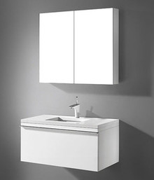 "Madeli Venasca Glossy White 36"" Wall Hung Vanity With Quartzstone Top & Ceramic Sink Option"