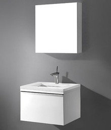 "Madeli Venasca Glossy White 24"" Wall Hung Vanity 23 5/8"" W X 18 1/8"" D X 15 3/4"" H With Glass Top & Sink Option"