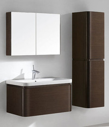 "Madeli Euro Walnut 36"" Vanity 34 5/8"" W X 18 1/2"" D X 16 15/16"" H With Ceramic Sink Option"