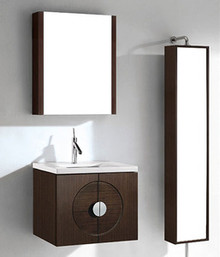 "Madeli Palermo Wall Hung Walnut 24"" Vanity 23 5/8"" W X 18 1/16"" D X 18 7/8"" H with Wood Top & Ceramic Sink Option"