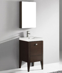 "Madeli Andora Walnut 20"" Vanity 19 1/2"" W X 19 1/2"" D X 33 1/16"" H With Ceramic Sink Option"