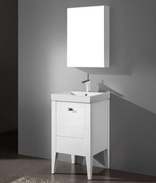 "Madeli Andora Glossy White 20"" Vanity With Ceramic Sink Option (B910-20-001-GW)"