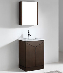 "Madeli Savona Walnut 24"" Vanity 23 1/2"" W X 18 1/16"" D X 33 7/16"" H with Wood Top & Ceramic Sink Option"