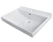 "Madeli White Semi Recess Sink With Overflow For Single Hole Faucet 23 5/8"" x 18 1/8"""