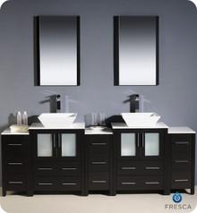 "Fresca Torino FVN62-72ES-VSL 84"" Espresso Modern Double Sink Bathroom Vanity Cabinet w/ 3 Side Cabinets & Vessel Sinks - Espresso"