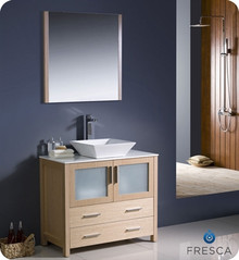 "Fresca Torino FVN6236LO-VSL 36"" Light Oak Modern Bathroom Vanity Cabinet w/ Vessel Sink - Light Oak"