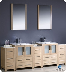 "Fresca Torino FVN62-72LO-UNS 84"" Light Oak Modern Double Sink Bathroom Vanity Cabinet w/ 3 Side Cabinets & Undermount Sinks - Light Oak"
