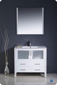 """Fresca Torino FVN6236WH-UNS 36"""" White Modern Bathroom Vanity Cabinet w/ Undermount Sink - White"""