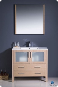 "Fresca Torino FVN6236LO-UNS 36"" Light Oak Modern Bathroom Vanity Cabinet w/ Undermount Sink - Light Oak"
