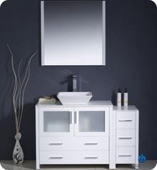 "Fresca Torino FVN62-3612WH-VSL 48"" White Modern Bathroom Vanity Cabinet w/ Side Cabinet & Vessel Sink - White"